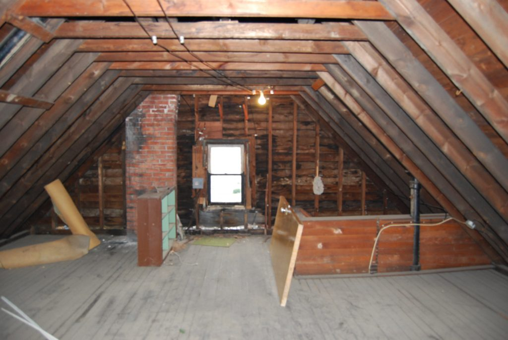 Attic where roof ventilation takes place