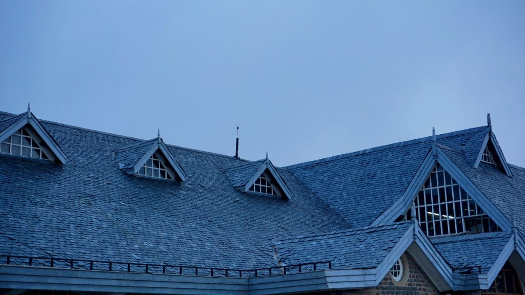 closeup of roof at twilight