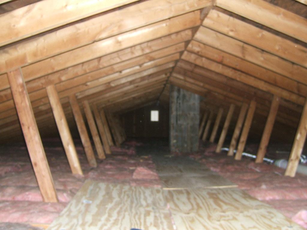 Attic with minimal insulation