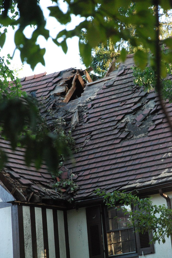 roof with portion damaged