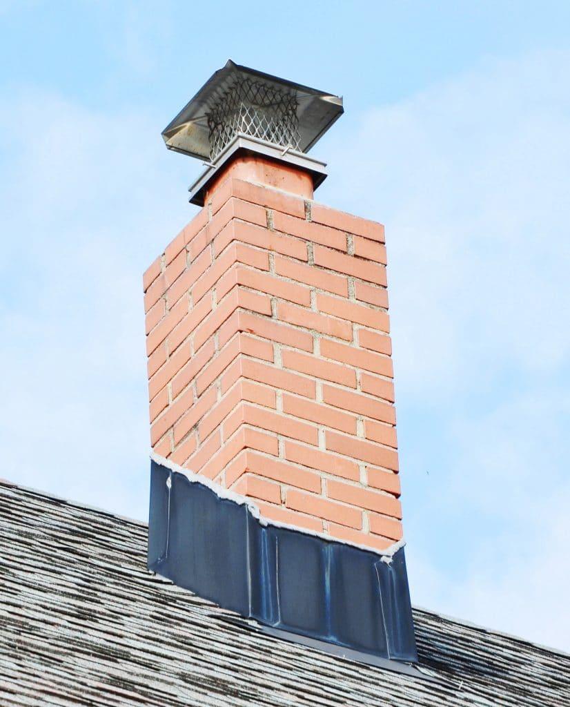 chimney on asphalt roof