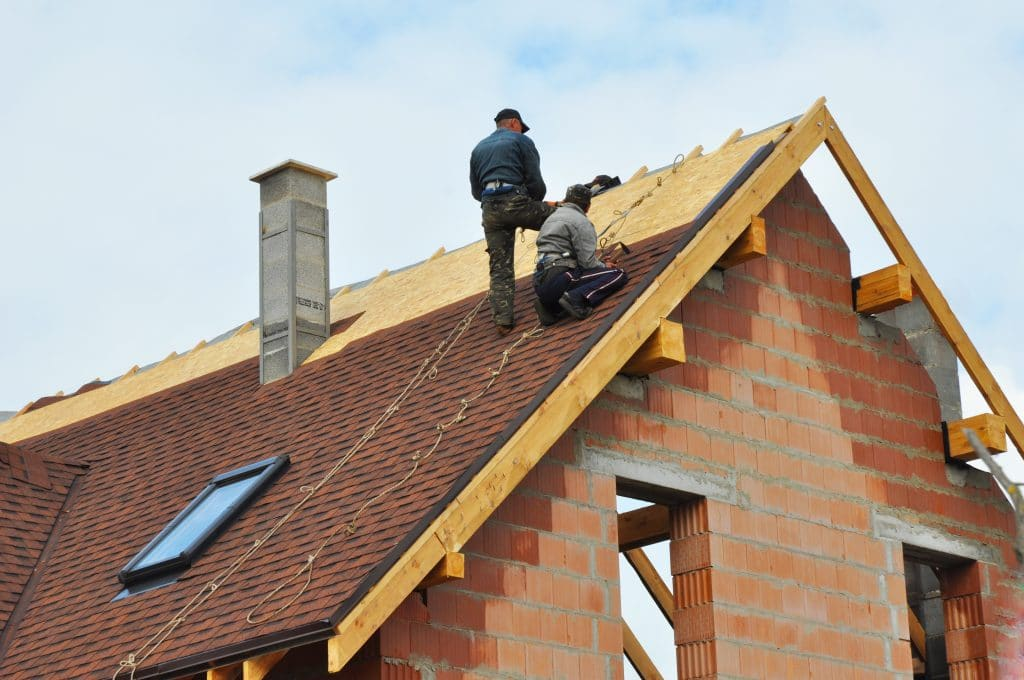 Roofing Construction and Building New Brick House with Modular C